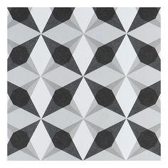 Tapisserie géométrique noir et blanc Cube Star de Jocelyn Warner