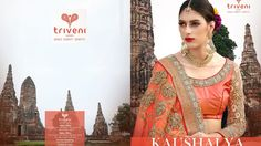"""""""Kaushalya"""" - Triveni's Artistic Party Wear Special Edition Sarees in Chiffon, Net, Georgette, Jacquard with Heavy Embroidery & Beautiful Lace Patterns, Bead Work, Patti Work & Jadau Work. For Latest Creations - Catalogs - Videos - Do Like or Join Our Network FB Page - https://www.facebook.com/triveni.wholesale  Or FB Page - https://www.facebook.com/triveni.saree  For Wholesale Inquiry - Call or WhatsApp - Customer Care - +91 78741 18932 / +91 93282 18932"""