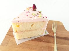 Rose cake with buttercream frosting and pistachios