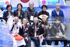 TOKYO, JAPAN - APRIL 12: The Japanese team celebrate for their team-mate during the free program during day two of the ISU World Team Trophy at Yoyogi National Gymnasium on April 12, 2013 in Tokyo, Japan