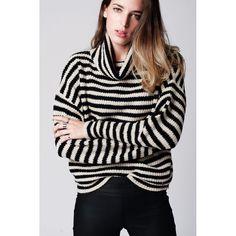 Beige striped roll neck sweater