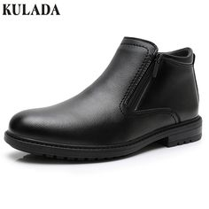 KULADA Newest Mens Winter Ankle boots Men Zipper Side Boot with thick artificial fur snow boot Leather Business Boots Cheap Winter Boots, Ankle Boots Men, Mens Boots Fashion, Mens Winter, Boot Shop, Leather Boots, Chelsea Boots, Formal Fashion, Fur