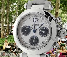 """""""Park Life!"""" #Cartier 35mm Pasha C Chronograph Stainless Steel ($3,275.00 USD) http://www.elementintime.com/Cartier-Pasha-Chronograph-Stainless-Steel-9482"""