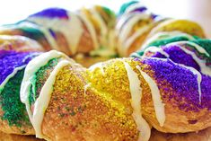 Easy Mardi Gras King Cake Recipe. Step by step recipe instructions with photos show you how.