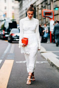 White lace maxi dress, white turtleneck top, pear sandals, red saddle bag - Fall layers, fall outfits, fall fashion, fashion, fashion trends 2017, fall fashion trends 2017, layered outfits, layered looks, street style, casual outfits, work outfits, comfy outfits.