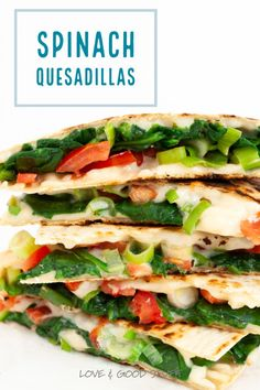 These easy vegetarian quesadillas are loaded with fresh spinach! These quesadillas are quick to make so they are a great family friendly option for busy nights, and they also make for a fun and tasty party appetizer. High Protein Vegetarian Recipes, Vegetarian Recipes Dinner, Vegan Recipes, Vegetarian Mexican Appetizers, Healthy Foods, Yummy Recipes, Healthy Eating, Appetizers For A Crowd, Seafood Appetizers