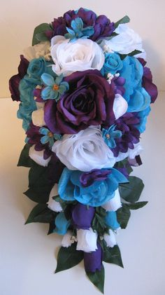 Free Shipping Wedding Bouquet Bridal Silk flowers Cascade TURQUOISE PURPLE WHITE 17 pcs package decorations Centerpieces Roses and Dreams