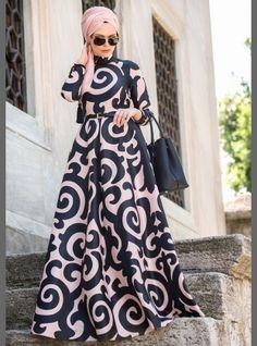 Patterned Dress - Black - Muslima Wear