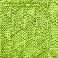 Diagonal Moss Stripe - knitting in the round - Knit - Purl stitches Loom Knitting Stitches, Knitting Help, Dishcloth Knitting Patterns, Knit Dishcloth, Knitting Charts, Crochet Patterns, Moss Stitch, How To Purl Knit, Knit Or Crochet