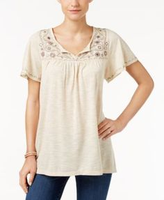 Style & Co. Embroidered Flutter-Sleeve Top, Only at Macy's