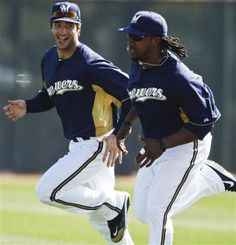 Milwaukee Brewers' Ryan Braun, left, runs with Rickie Weeks during a spring training baseball workout, Tuesday, Feb. (AP Photo/M - Yahoo! Best Baseball Player, Better Baseball, Braun Face, Spring Training, Milwaukee Brewers, Major League, The Funny, Athletes, Funny Stuff