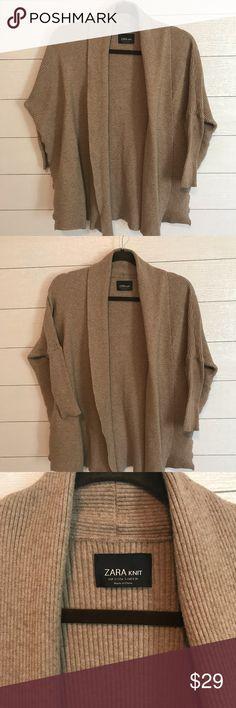 ZARA Knit cocoon sweater Camel colored ZARA knit cocoon sweater Size S Excellent condition Zara Sweaters Cardigans