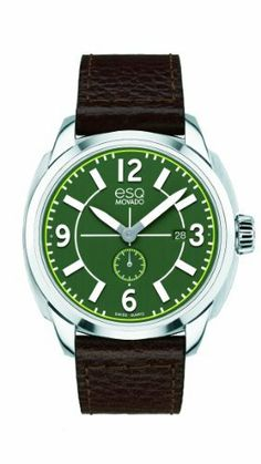 ESQ Movado Men's 07301408 esq Excel tm Arabic Chocolate Leather Strap Watch ESQ by Movado. $295.00. Case diameter: 43mm. Green dial with white accents. Durable mineral crystal. Water-resistant to 30 M (100 feet). Quartz movement