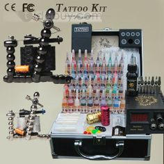 US$125.99 2 Carbon Alloy Guns Tattoo Kit With LCD Power Supply and Inks. #New #Alloy #With #Supply