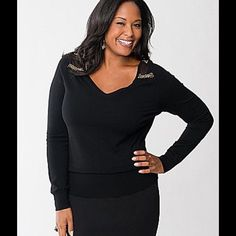 Sweater Pullover v-neck sweater with mesh shoulders and gold bead detailing. Lane Bryant Sweaters