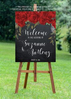 red roses wedding sign, red floral welcome sign, welcome wedding sign, digital wedding sign, chalkboard welcome sign, YOU PRINT, red floral