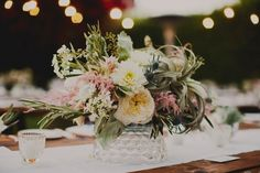 Blush centerpiece with airplanes