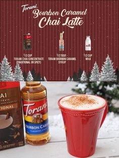 This warn Torani Bourbon Caramel Chai Latte is something even Santa would like to snuggle up with. So light the fire, grab your blanket and start sippin. Ninja Coffee Bar Recipes, Hot Tea Recipes, Sugar Free Recipes, Chai, Torani Syrup, Bourbon, Latte Flavors, Frozen Coffee, Fall Dessert Recipes