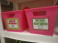 Daily 5 bins  for Word Work. I love the bins for organization.