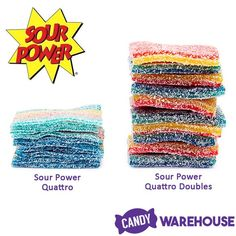 A whole lot of sour—Sour Power Quattro Doubles Mini Candy Belts Sour Gummy Bears, Sour Gummy Worms, Bulk Candy, Candy Store, Sour Belts, Wholesale Candy, Types Of Candy, Sour Candy, New Inventions