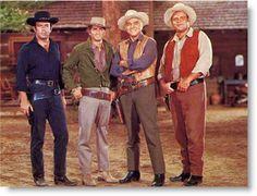 Pernnel Roberts, Michael Landon, Lorne Greene, & Dan Blocker as Adam, Little Joe, Pa/Ben, & Hoss Cartwright.