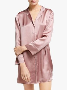 Buy John Lewis & Partners Nina Silk Nightshirt, Rose from our Women's Nightwear range at John Lewis & Partners. Pink Tone, John Lewis, Nightwear, Personal Style, Silk, Long Sleeve, Sleeves, How To Wear, Clothes