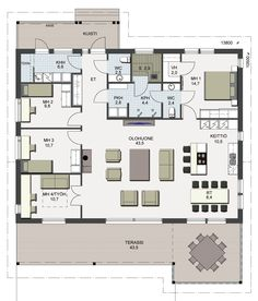 Herralan Taavi-talomallin pohjapiirustus Dream House Plans, Small House Plans, My Dream Home, Humble Abode, Future House, Diy Home Decor, Sweet Home, Floor Plans, Home And Garden