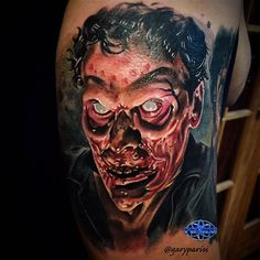 Evil Ash From Evil Dead by @garyparisi from Mayday Tattoo in Chicago, Illinois. #ashwilliams #ash #evilash #evildead #halloween #halloweentattoo #horror #horrortattoo #garyparisi #maydaytattooco #chicago #illinois #tattoo #tattoos #tattoosnob