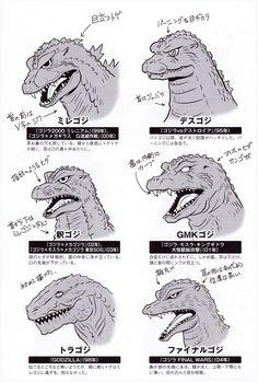 """daikaijusushi: """" The many faces of Godzilla (minus the 2014 version). """""""