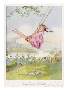 is me swinging when I was a child. Honor C. Appleton The Bower Book of Simple PoemsThis is me swinging when I was a child. Honor C. Appleton The Bower Book of Simple Poems Vintage Children's Books, Vintage Art, Monica Crema, Robert Louis Stevenson, Parcs, Children's Book Illustration, Book Illustrations, Vintage Prints, Kids Playing
