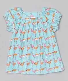 Look what I found on #zulily! Aqua & Pink Flamingo Viola Top - Toddler #zulilyfinds