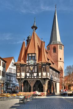"""willkommen-in-germany: """"Michelstadt is a small town in the Odenwald in Hessen, Central Germany, between Darmstadt and Heidelberg, pop.: It was first mentioned in documents in Its Altstadt (Old Town) features many timber-framed houses,. Beautiful Architecture, Beautiful Buildings, Beautiful Places, Visit Germany, Germany Travel, Places To Travel, Places To See, Places Around The World, Around The Worlds"""