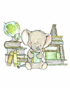 Childrens Art Bookish Elephant Art Print by trafalgarssquare Elephant Nursery Art, Elephant Love, Giraffe Art, Animal Drawings, Cute Drawings, Baby Art, Cute Illustration, Cute Art, Illustrator