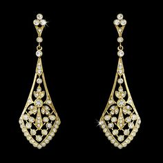 Vintage Style Cubic Zirconia Gold Bridal Earrings--Affordable Elegance Bridal -