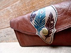 Love the design Leather Wallet Long with Feathery Print, Sienna Brown & Olive Taupe - SALE - see Shop for Coupon Codes.... $65.00, via Etsy.