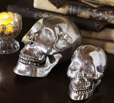 Metal Skulls | Pottery Barn -- Hmmm, $40 at PB, or buy a cheap one and spray paint it with metallic spray paint YESSS?! :)