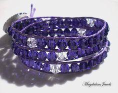 Items similar to Triple Wrap Bracelet Beaded Bracelet Swarovski Crystals Purple Velvet Vintage Button, Boho Jewelry on Etsy Bangle Bracelets With Charms, Crystal Bracelets, Handmade Bracelets, Fashion Bracelets, Handmade Jewelry, Wrap Bracelets, Handmade Gifts, Boho Jewelry, Unique Jewelry