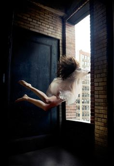♀ Freedom (girl break through window trace for light surreal art by Alicia Savage from http://aliciasavage.com/gallery/)