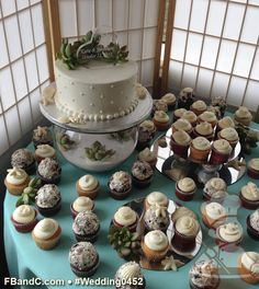 "Design W 0452 | 8"" Butter Cream Wedding Cake & Assorted Cupcakes  