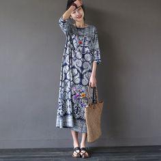 Kvinnor sommar utskrift bomull linne lös klänning