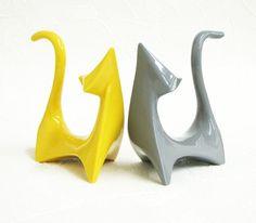Modern Atomic Retro Ceramic Mod Cats Cubist by DesertArtsPottery