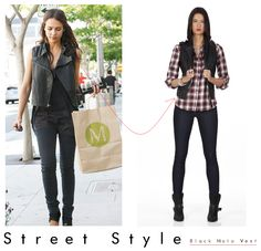 Happy Friday! Just a little street style inspiration to get the day going. How would you rock our Black Moto Vest? http://www.shoxie.com/black-moto-vest.html