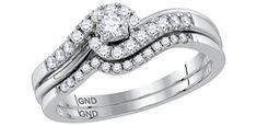 Jewels By Lux 10kt White Gold Womens Round Diamond Swirled Bridal Wedding Engagement Ring Band Set 5/8 Cttw