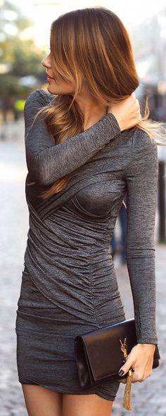 Long sleeve grey drape dress