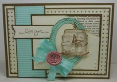 Birdcage card using Nature Walk stamp set by Stampin' Up!