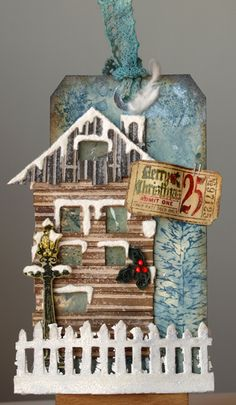 Shabby House Christmas Tag...with picket fence...by Anna-karin.