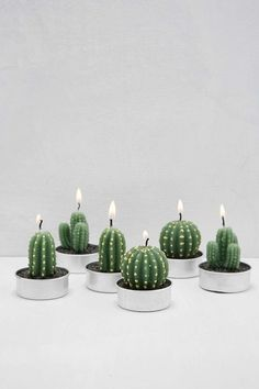 Can be assembled in groups for a succulent garden candlescape. - Liven up the atmosphere - Cute cactus design - 3 different styles - 6 pieces included - Perfect f%categories%Bedroom Tealight Candle Sets, Tea Light Candles, Tea Lights, My New Room, My Room, Dorm Room, Interior And Exterior, Interior Design, Mini Cactus