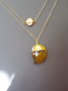 citrine necklace Double Layer Necklace November by Muse411 on Etsy, $32.00