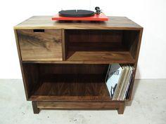 Custom Made Record Storage System from Boles Studio Walnut Dining Table, Walnut Coffee Table, Record Storage, Wine Storage, Wormy Chestnut, Record Stand, Hutch Cabinet, Walnut Kitchen, Blanket Chest