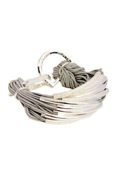 Grey Multi Bar Cord Bracelet by Saachi//